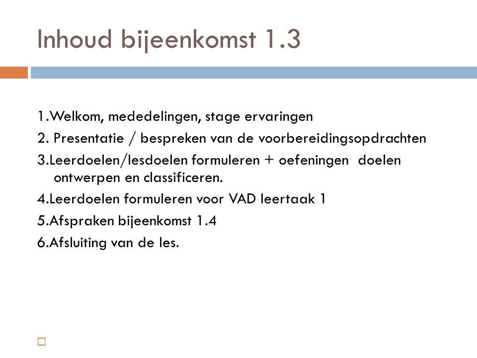 Inhoud bijeenkomst 1.3 1.Welkom, mededelingen, stage ervaringen 2.