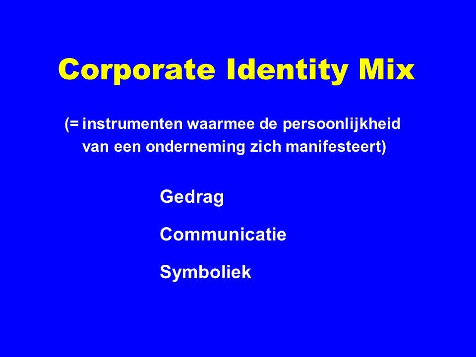 Corporate Identity Mix (=instrumenten waarmee de persoonlijkheid van een onderneming zich manifesteert) Gedrag Communicatie Symboliek