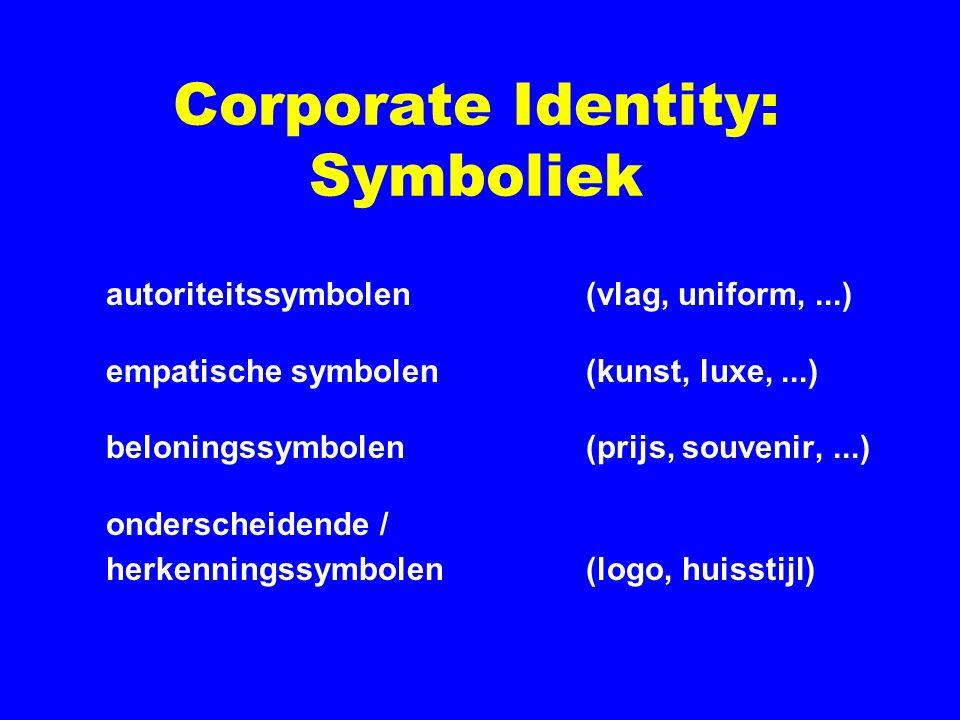 Corporate Identity: Symboliek autoriteitssymbolen (vlag, uniform,...) empatische symbolen(kunst, luxe,...) beloningssymbolen(prijs, souvenir,...) onde