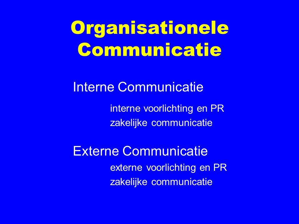 Organisationele Communicatie Interne Communicatie interne voorlichting en PR zakelijke communicatie Externe Communicatie externe voorlichting en PR za