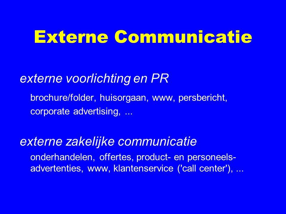 Externe Communicatie externe voorlichting en PR brochure/folder, huisorgaan, www, persbericht, corporate advertising,... externe zakelijke communicati