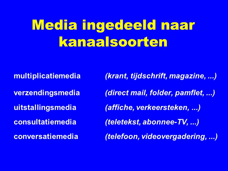 Media ingedeeld naar kanaalsoorten multiplicatiemedia (krant, tijdschrift, magazine,...) verzendingsmedia (direct mail, folder, pamflet,...) uitstalli