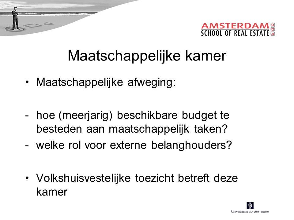 Maatschappelijke kamer Maatschappelijke afweging: -hoe (meerjarig) beschikbare budget te besteden aan maatschappelijk taken.