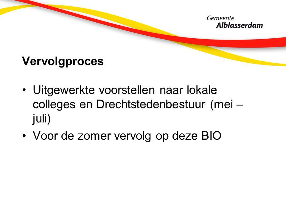 Vervolgproces Uitgewerkte voorstellen naar lokale colleges en Drechtstedenbestuur (mei – juli) Voor de zomer vervolg op deze BIO