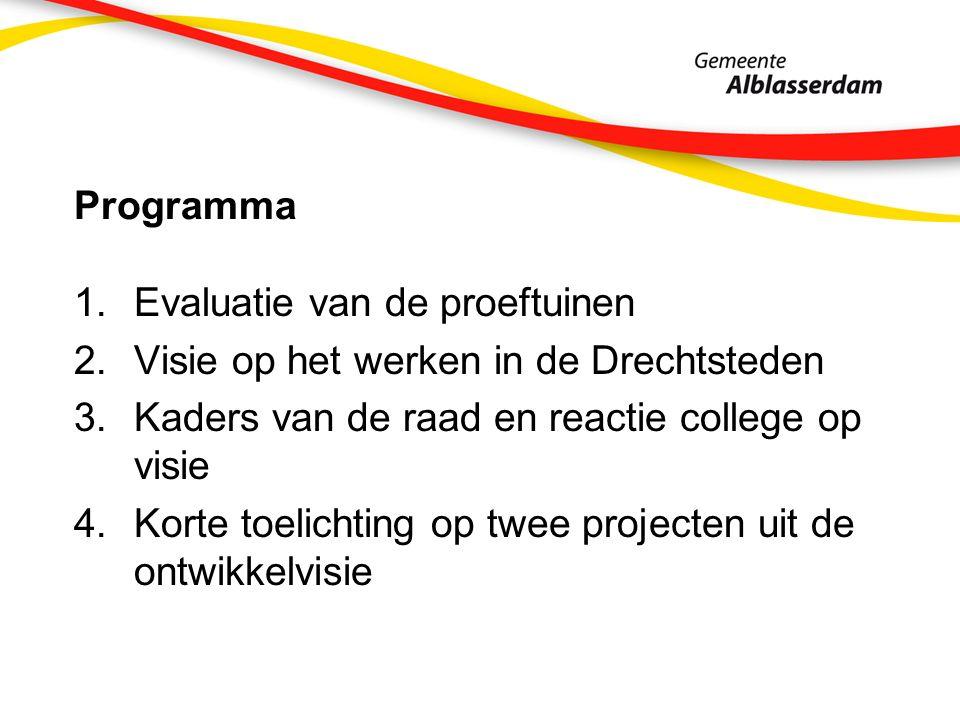 Programma 1.Evaluatie van de proeftuinen 2.Visie op het werken in de Drechtsteden 3.Kaders van de raad en reactie college op visie 4.Korte toelichting op twee projecten uit de ontwikkelvisie