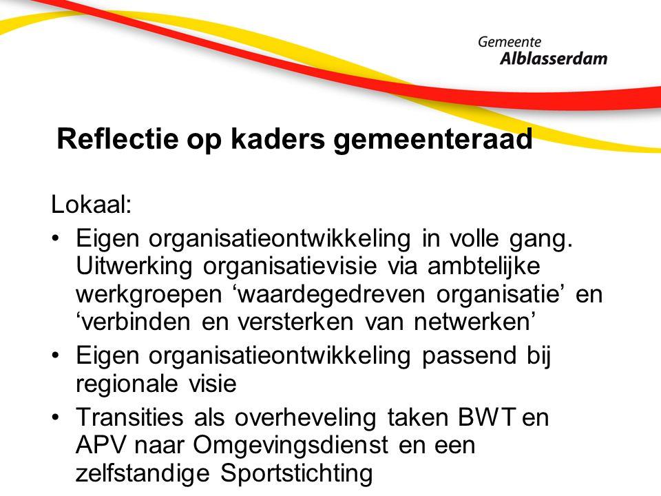 Reflectie op kaders gemeenteraad Lokaal: Eigen organisatieontwikkeling in volle gang.