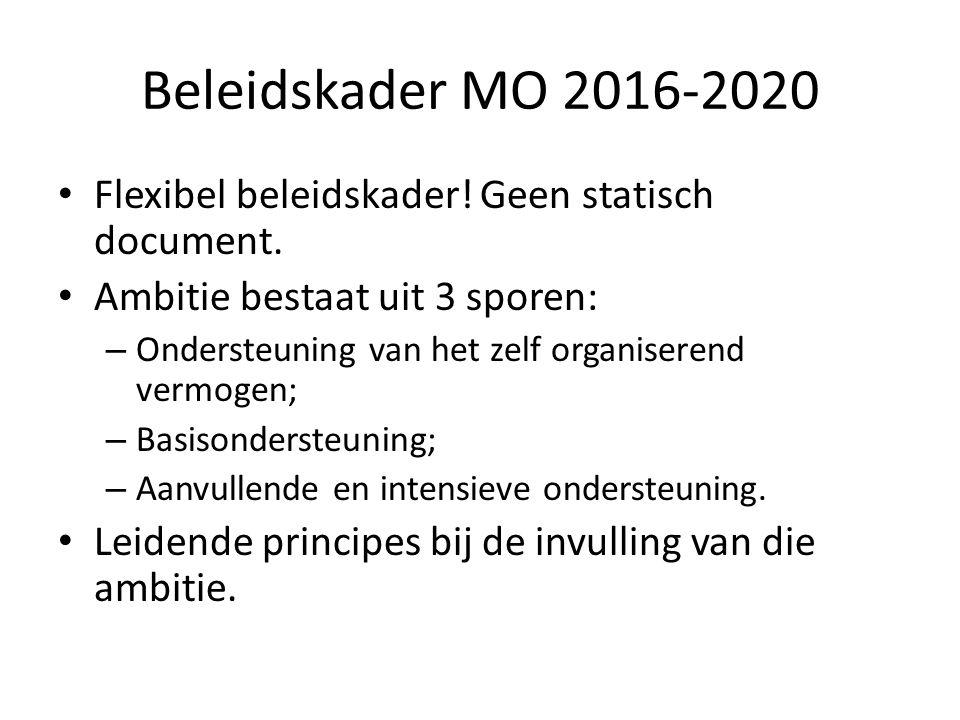 Beleidskader MO 2016-2020 Flexibel beleidskader! Geen statisch document. Ambitie bestaat uit 3 sporen: – Ondersteuning van het zelf organiserend vermo