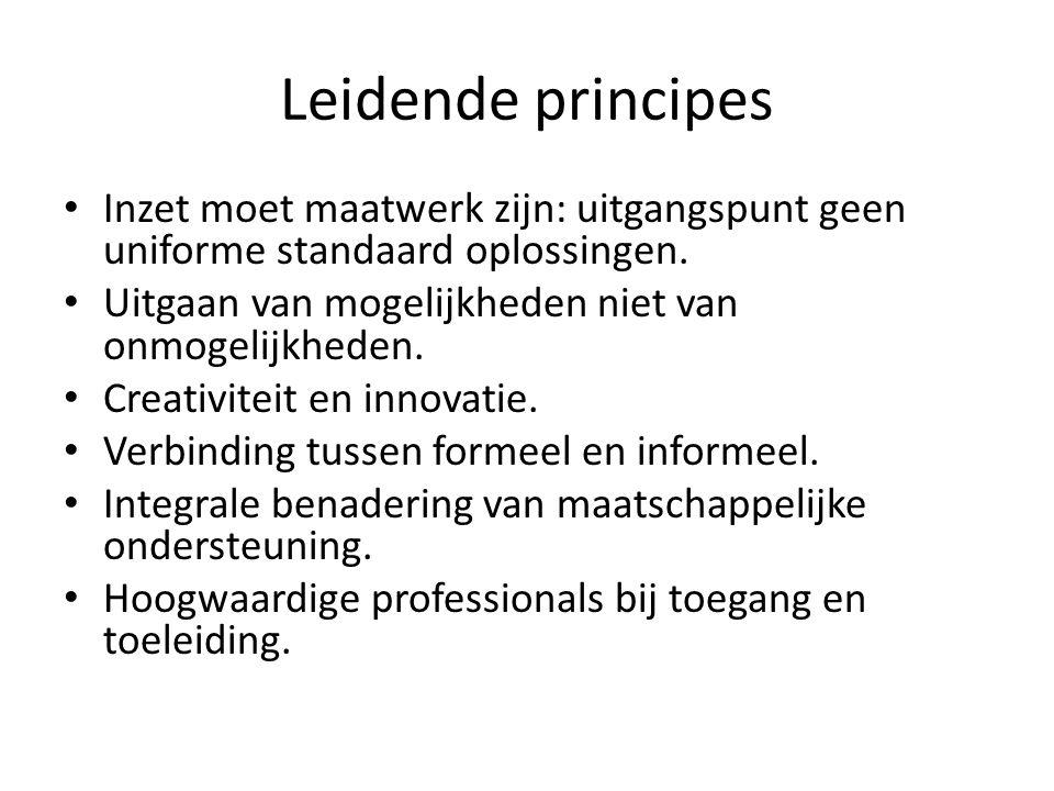 Leidende principes Inzet moet maatwerk zijn: uitgangspunt geen uniforme standaard oplossingen. Uitgaan van mogelijkheden niet van onmogelijkheden. Cre