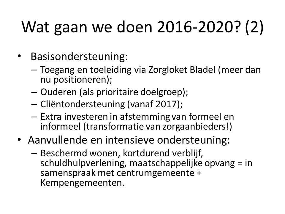 Wat gaan we doen 2016-2020? (2) Basisondersteuning: – Toegang en toeleiding via Zorgloket Bladel (meer dan nu positioneren); – Ouderen (als prioritair