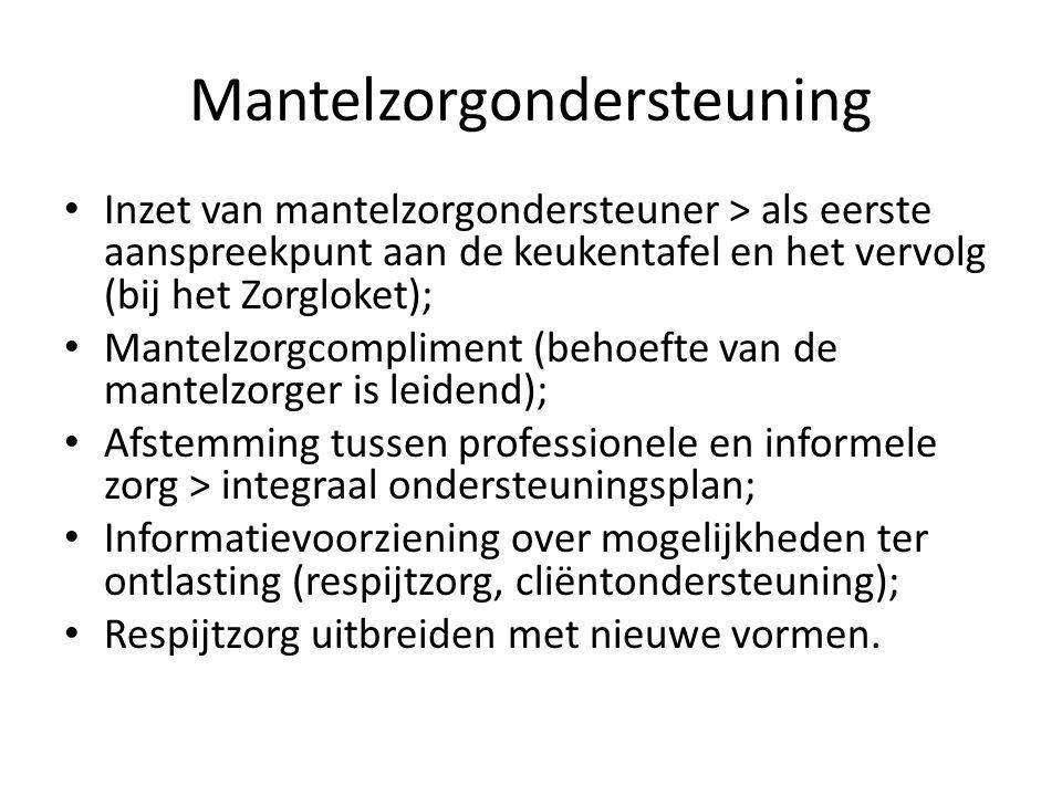 Mantelzorgondersteuning Inzet van mantelzorgondersteuner > als eerste aanspreekpunt aan de keukentafel en het vervolg (bij het Zorgloket); Mantelzorgc