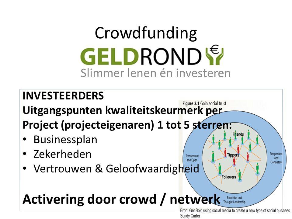 INVESTEERDERS Uitgangspunten kwaliteitskeurmerk per Project (projecteigenaren) 1 tot 5 sterren: Businessplan Zekerheden Vertrouwen & Geloofwaardigheid Activering door crowd / netwerk Crowdfunding Slimmer lenen én investeren
