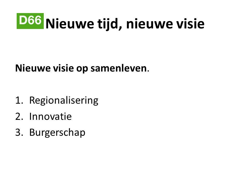 Nieuwe tijd, nieuwe visie Nieuwe visie op samenleven. 1.Regionalisering 2.Innovatie 3.Burgerschap