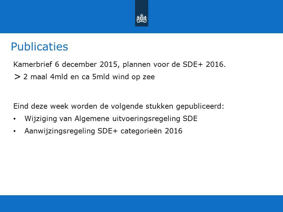 Publicaties > Kamerbrief 6 december 2015, plannen voor de SDE+ 2016.