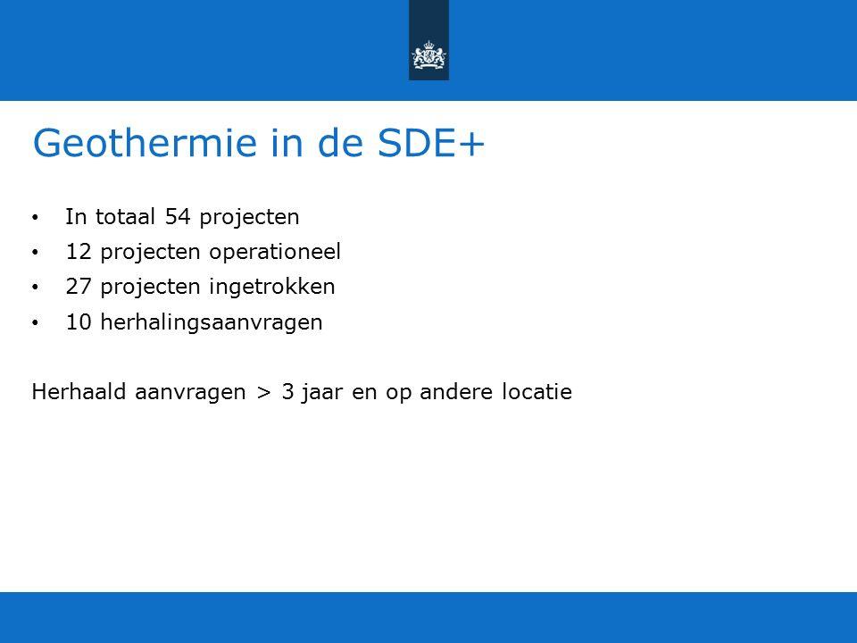 Geothermie in de SDE+ In totaal 54 projecten 12 projecten operationeel 27 projecten ingetrokken 10 herhalingsaanvragen Herhaald aanvragen > 3 jaar en op andere locatie