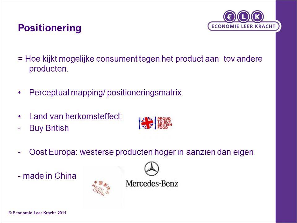 Positionering = Hoe kijkt mogelijke consument tegen het product aan tov andere producten. Perceptual mapping/ positioneringsmatrix Land van herkomstef
