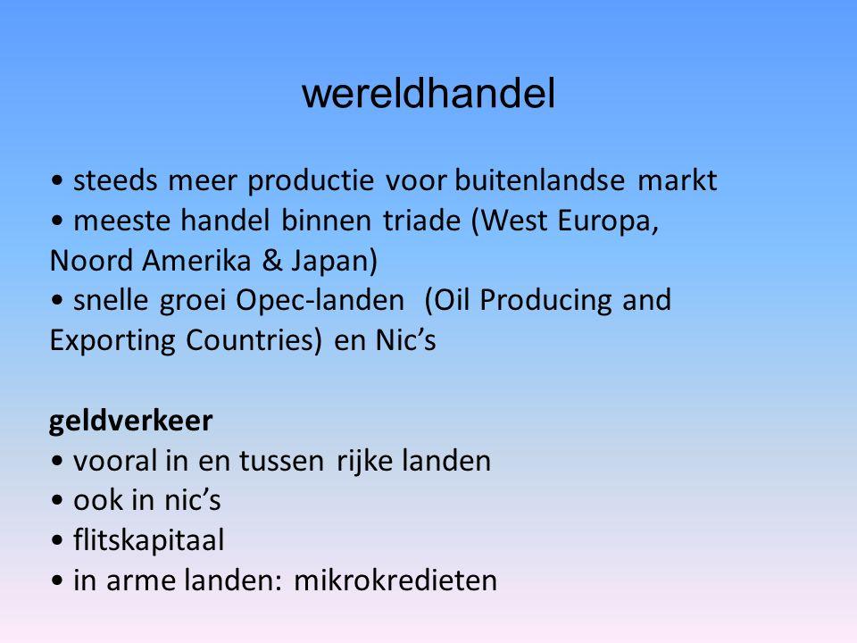 wereldhandel steeds meer productie voor buitenlandse markt meeste handel binnen triade (West Europa, Noord Amerika & Japan) snelle groei Opec-landen (