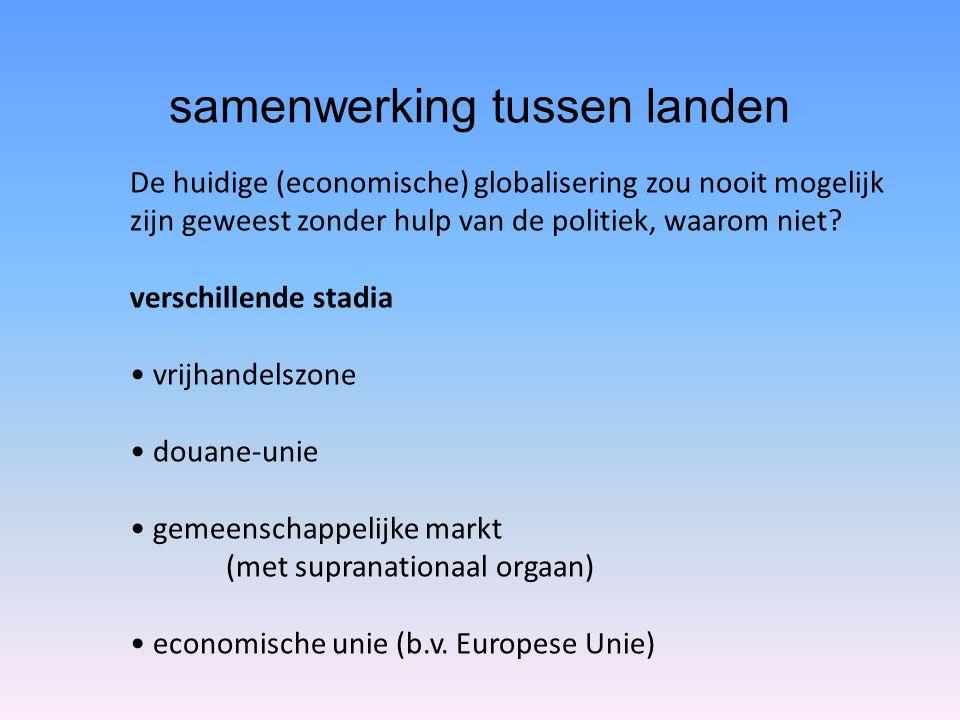 samenwerking tussen landen De huidige (economische) globalisering zou nooit mogelijk zijn geweest zonder hulp van de politiek, waarom niet? verschille