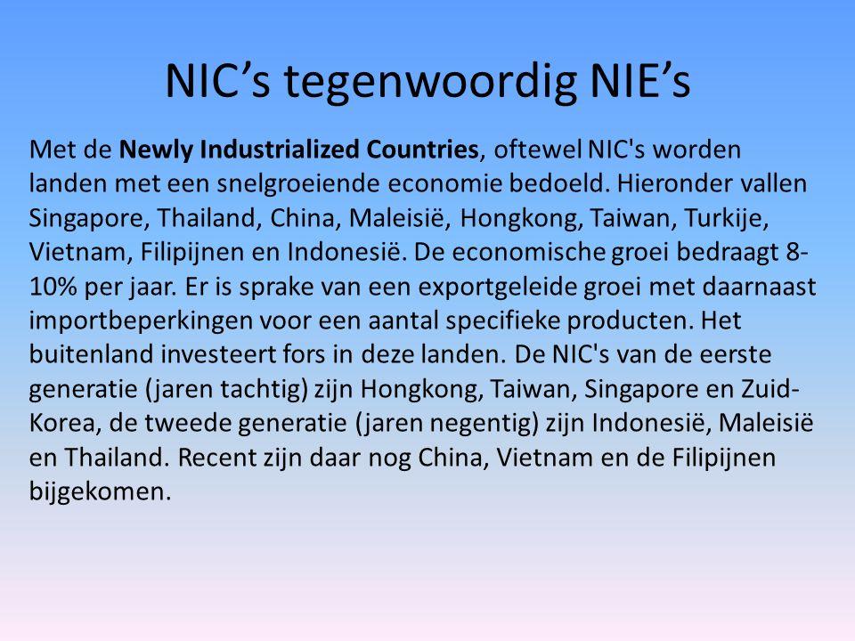 NIC's tegenwoordig NIE's Met de Newly Industrialized Countries, oftewel NIC's worden landen met een snelgroeiende economie bedoeld. Hieronder vallen S