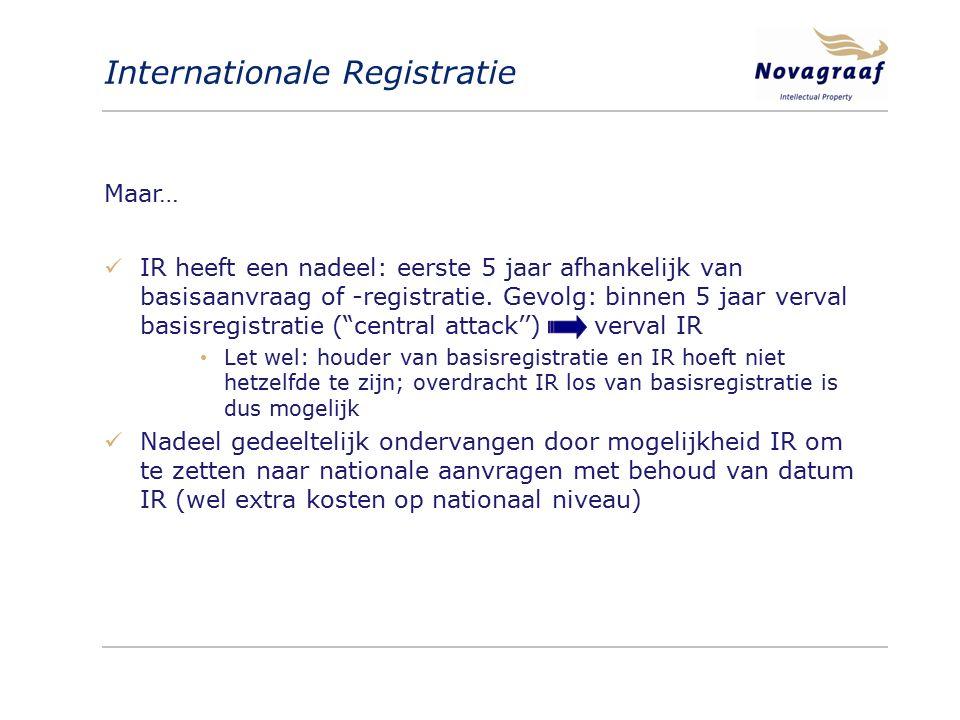 Internationale Registratie Maar… IR heeft een nadeel: eerste 5 jaar afhankelijk van basisaanvraag of -registratie. Gevolg: binnen 5 jaar verval basisr