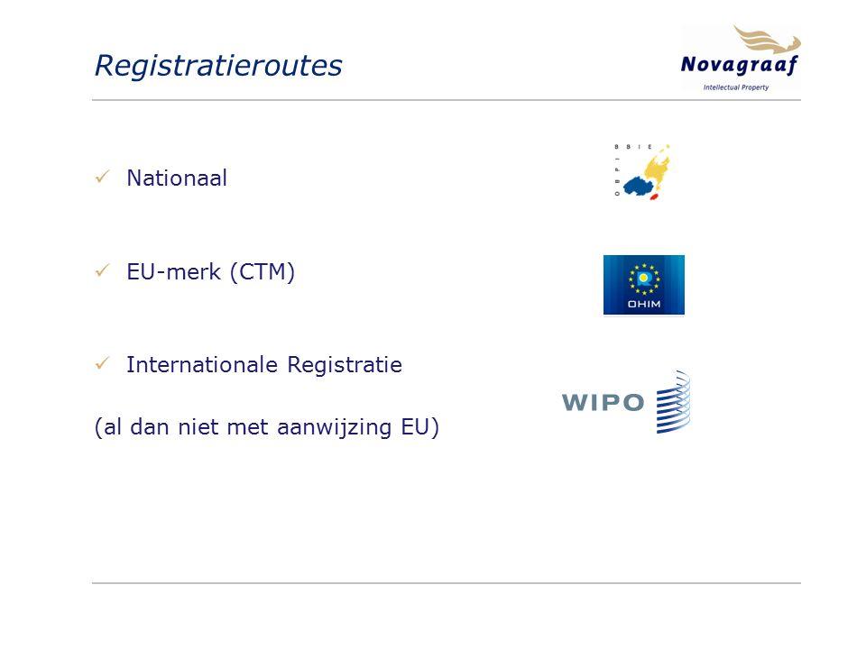 Registratieroutes Nationaal EU-merk (CTM) Internationale Registratie (al dan niet met aanwijzing EU)
