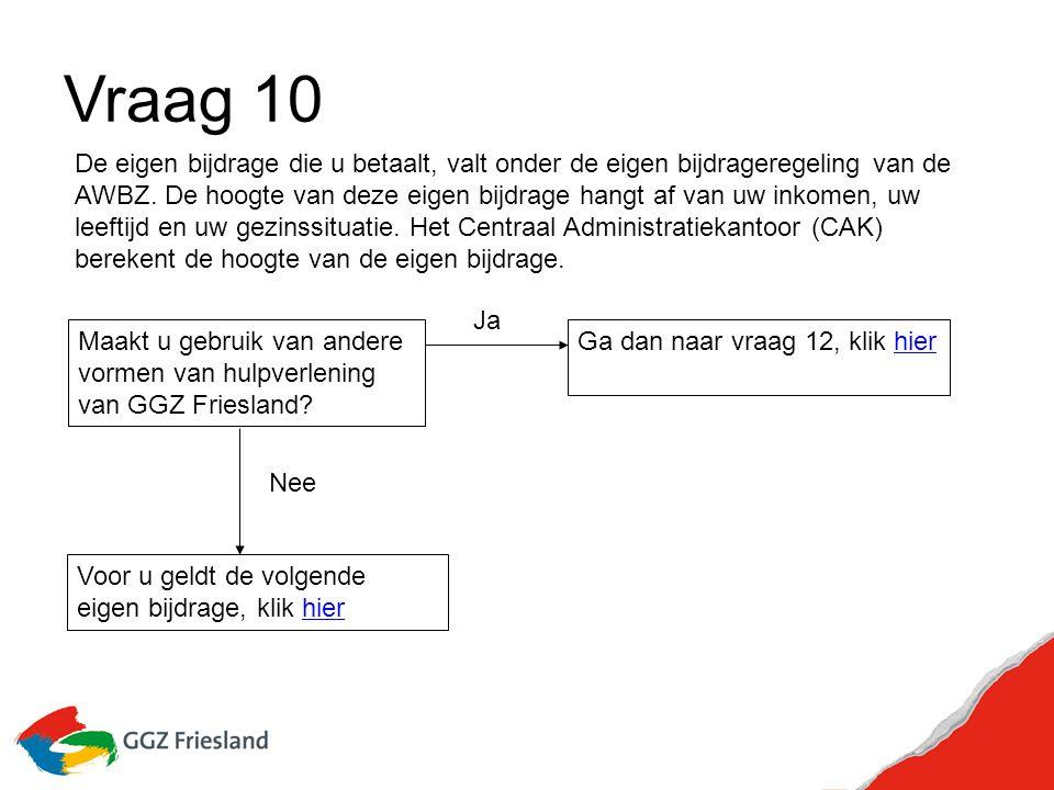 Vraag 10 Maakt u gebruik van andere vormen van hulpverlening van GGZ Friesland.