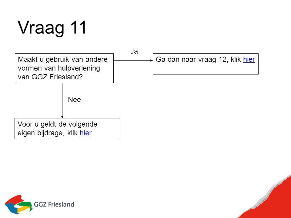 Vraag 11 Maakt u gebruik van andere vormen van hulpverlening van GGZ Friesland.