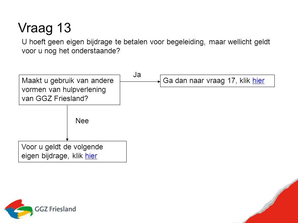 Vraag 13 Maakt u gebruik van andere vormen van hulpverlening van GGZ Friesland.