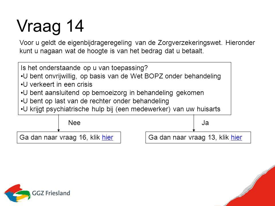 Vraag 14 Voor u geldt de eigenbijdrageregeling van de Zorgverzekeringswet.
