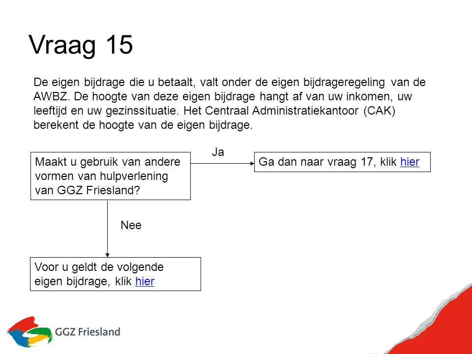 Vraag 15 Maakt u gebruik van andere vormen van hulpverlening van GGZ Friesland.