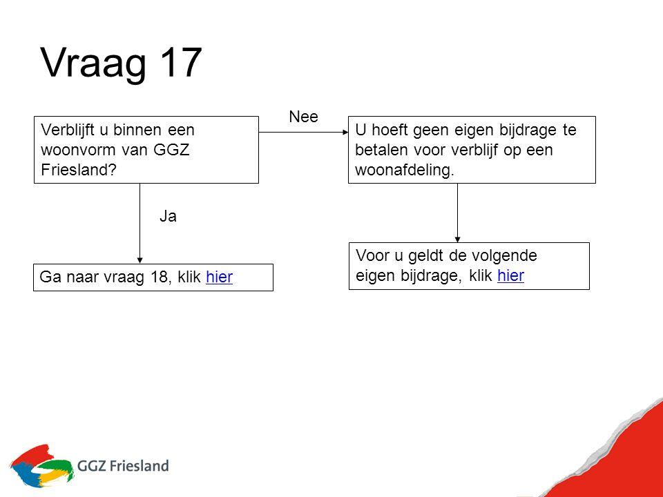 Vraag 17 Verblijft u binnen een woonvorm van GGZ Friesland.