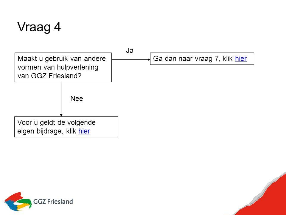 Vraag 4 Maakt u gebruik van andere vormen van hulpverlening van GGZ Friesland.