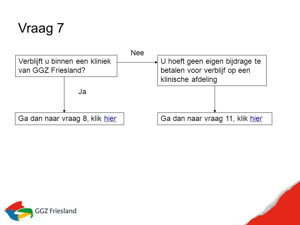 Vraag 7 Verblijft u binnen een kliniek van GGZ Friesland.