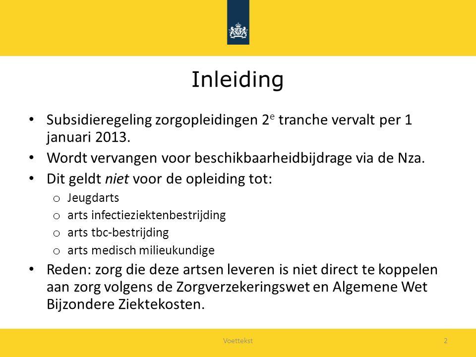 Voettekst2 Inleiding Subsidieregeling zorgopleidingen 2 e tranche vervalt per 1 januari 2013.