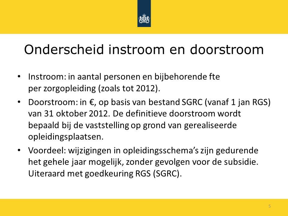 5 Onderscheid instroom en doorstroom Instroom: in aantal personen en bijbehorende fte per zorgopleiding (zoals tot 2012).