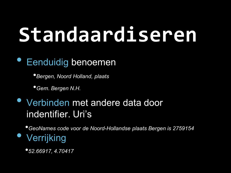 Standaardiseren Eenduidig benoemen Bergen, Noord Holland, plaats Gem. Bergen N.H. Verbinden met andere data door indentifier. Uri's GeoNames code voor