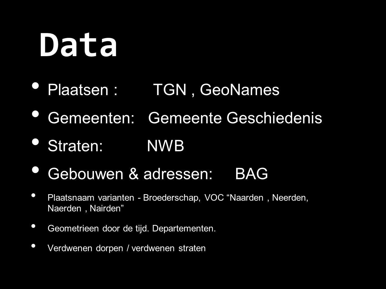 Data Plaatsen : TGN, GeoNames Gemeenten: Gemeente Geschiedenis Straten: NWB Gebouwen & adressen: BAG Plaatsnaam varianten - Broederschap, VOC Naarden, Neerden, Naerden, Nairden Geometrieen door de tijd.