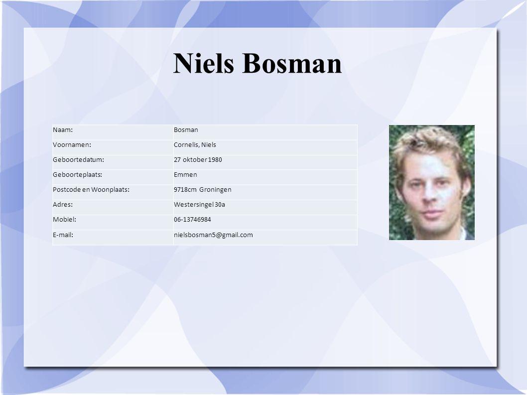 Niels Bosman Naam:Bosman Voornamen:Cornelis, Niels Geboortedatum:27 oktober 1980 Geboorteplaats:Emmen Postcode en Woonplaats:9718cm Groningen Adres:We