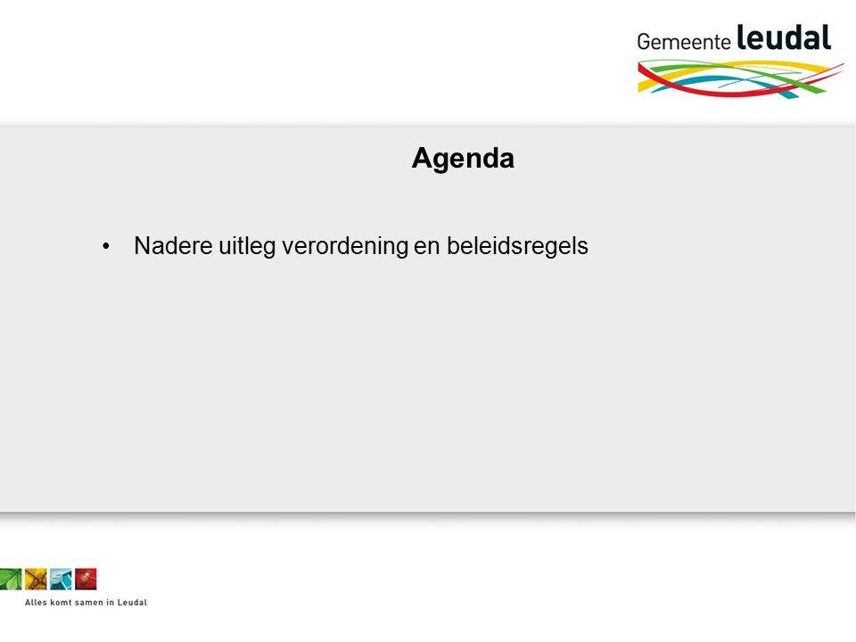 Agenda Nadere uitleg verordening en beleidsregels