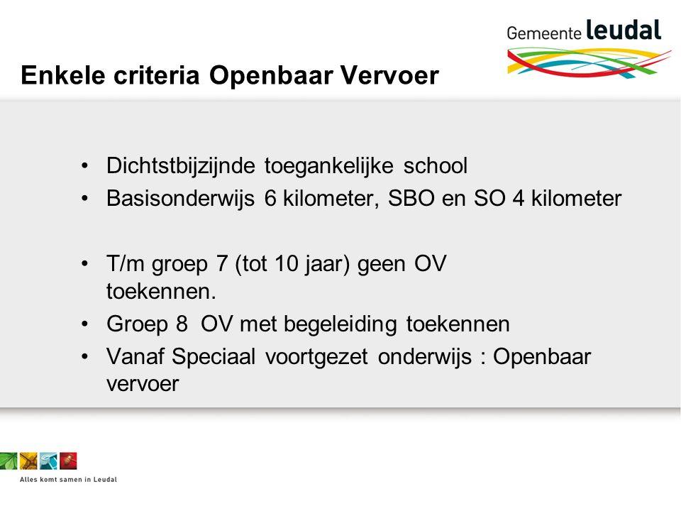 Enkele criteria Openbaar Vervoer Dichtstbijzijnde toegankelijke school Basisonderwijs 6 kilometer, SBO en SO 4 kilometer T/m groep 7 (tot 10 jaar) geen OV toekennen.