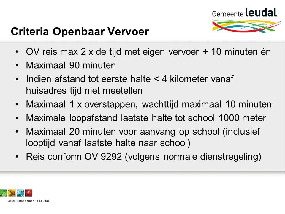 Criteria Openbaar Vervoer OV reis max 2 x de tijd met eigen vervoer + 10 minuten én Maximaal 90 minuten Indien afstand tot eerste halte < 4 kilometer