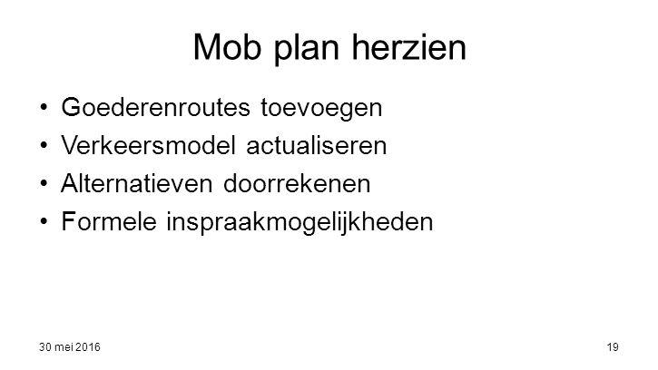 30 mei 201619 Mob plan herzien Goederenroutes toevoegen Verkeersmodel actualiseren Alternatieven doorrekenen Formele inspraakmogelijkheden