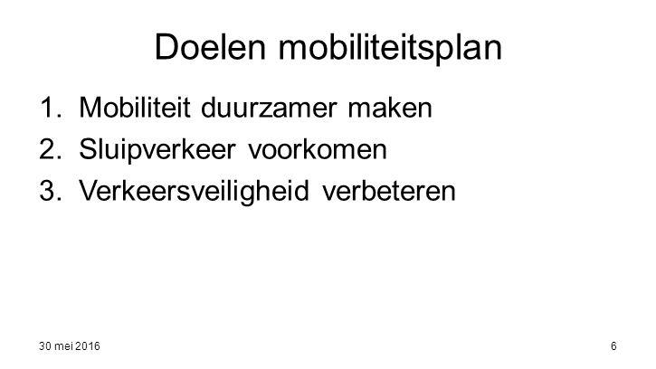 30 mei 20166 Doelen mobiliteitsplan 1.Mobiliteit duurzamer maken 2.Sluipverkeer voorkomen 3.Verkeersveiligheid verbeteren