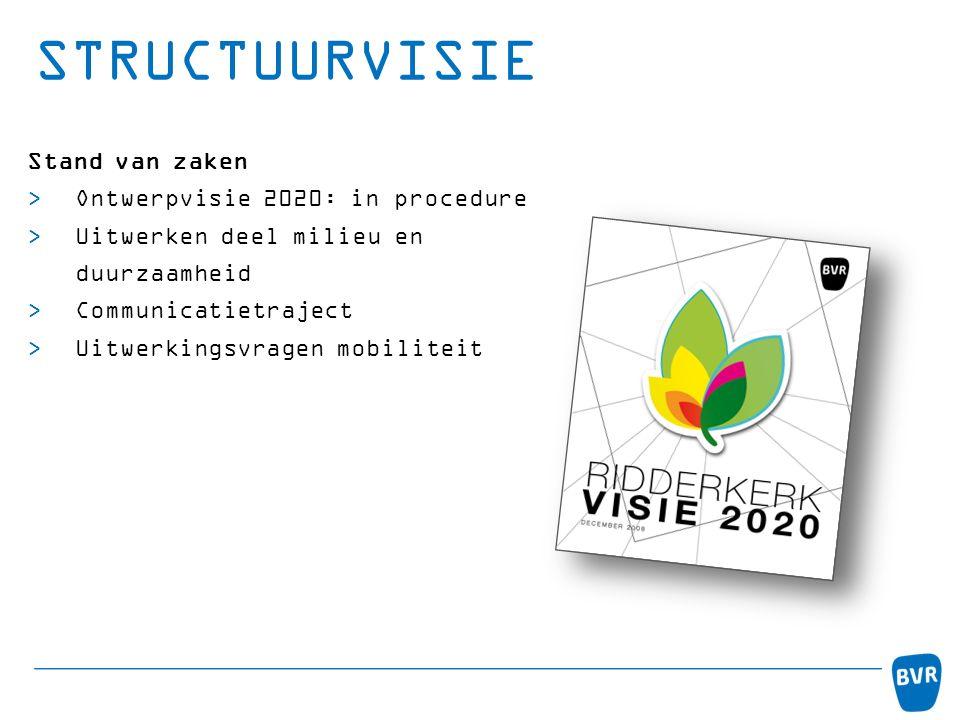 STRUCTUURVISIE Stand van zaken  Ontwerpvisie 2020: in procedure  Uitwerken deel milieu en duurzaamheid  Communicatietraject  Uitwerkingsvragen mob