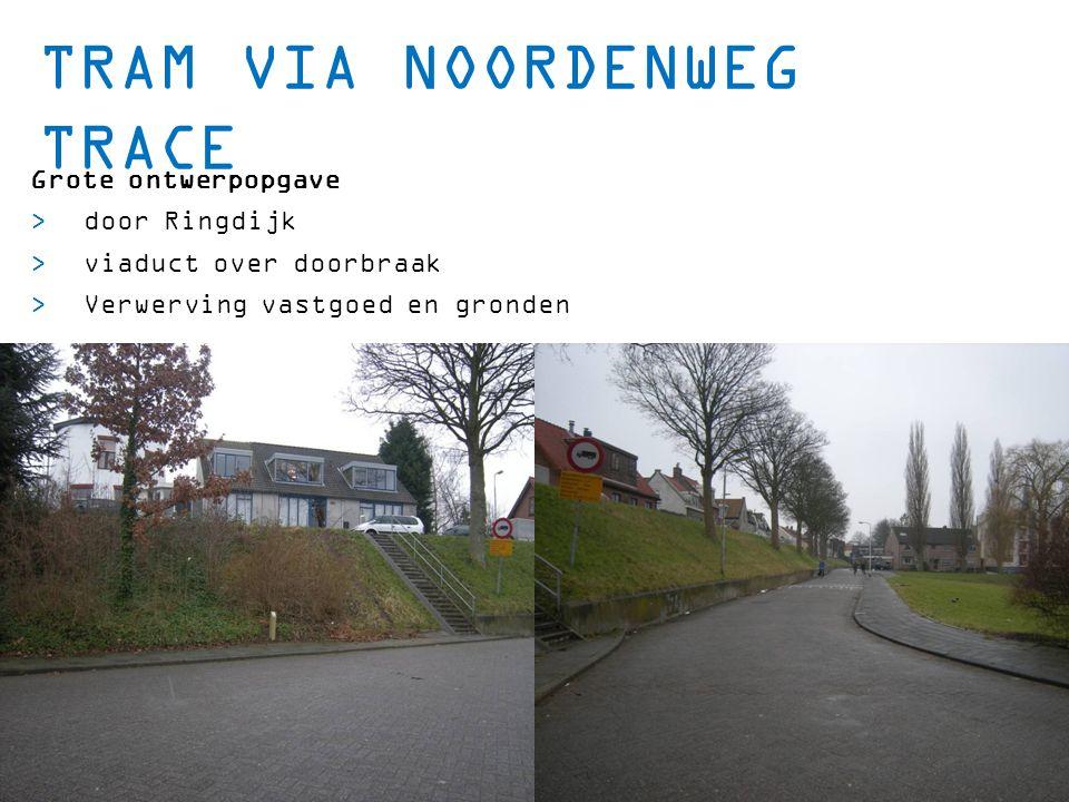 TRAM VIA NOORDENWEG TRACE Grote ontwerpopgave  door Ringdijk  viaduct over doorbraak  Verwerving vastgoed en gronden