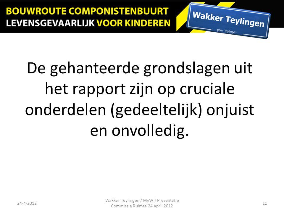De gehanteerde grondslagen uit het rapport zijn op cruciale onderdelen (gedeeltelijk) onjuist en onvolledig. Wakker Teylingen / MvW / Presentatie Comm
