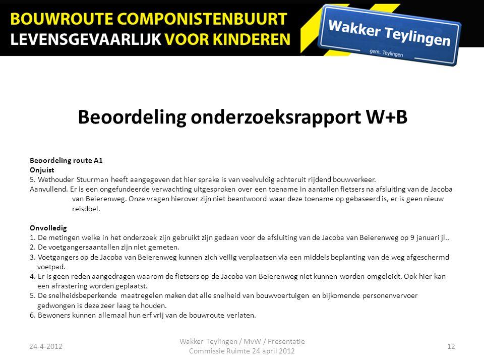 Beoordeling onderzoeksrapport W+B Beoordeling route A1 Onjuist 5. Wethouder Stuurman heeft aangegeven dat hier sprake is van veelvuldig achteruit rijd
