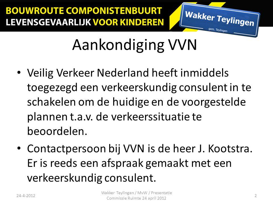 Aankondiging VVN Veilig Verkeer Nederland heeft inmiddels toegezegd een verkeerskundig consulent in te schakelen om de huidige en de voorgestelde plannen t.a.v.