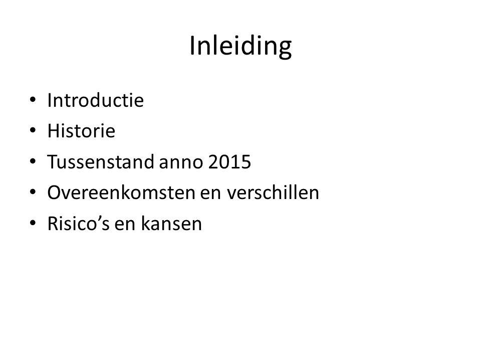 Inleiding Introductie Historie Tussenstand anno 2015 Overeenkomsten en verschillen Risico's en kansen