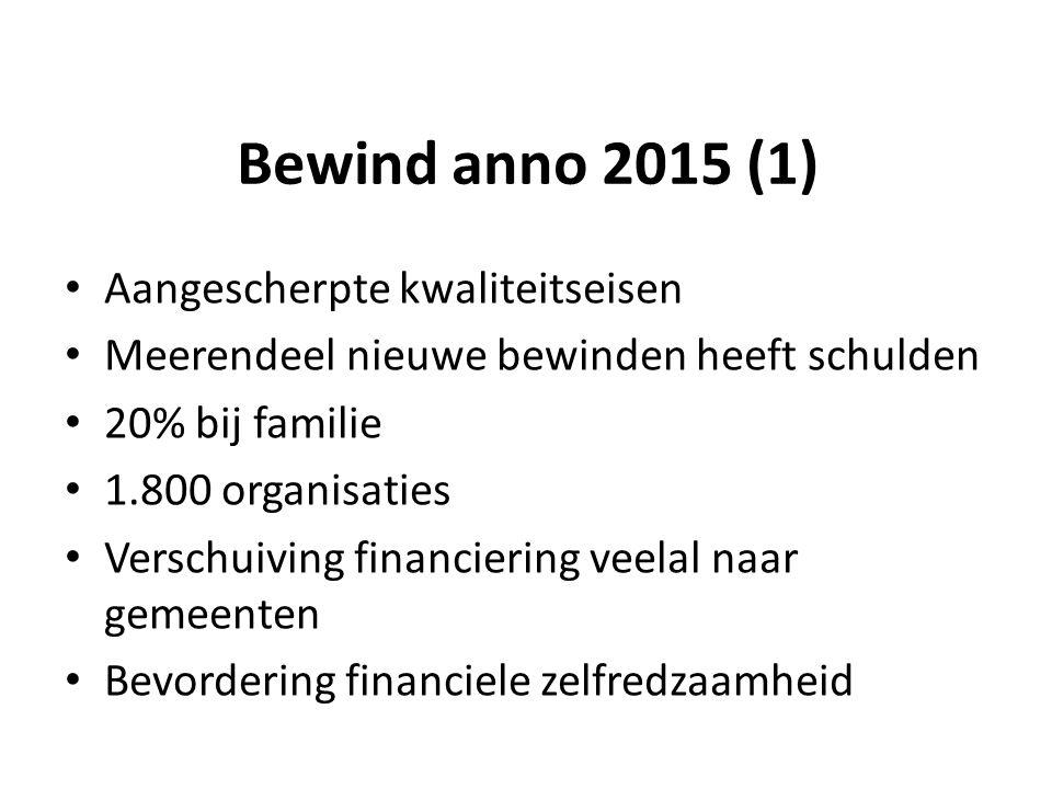 Bewind anno 2015 (1) Aangescherpte kwaliteitseisen Meerendeel nieuwe bewinden heeft schulden 20% bij familie 1.800 organisaties Verschuiving financiering veelal naar gemeenten Bevordering financiele zelfredzaamheid