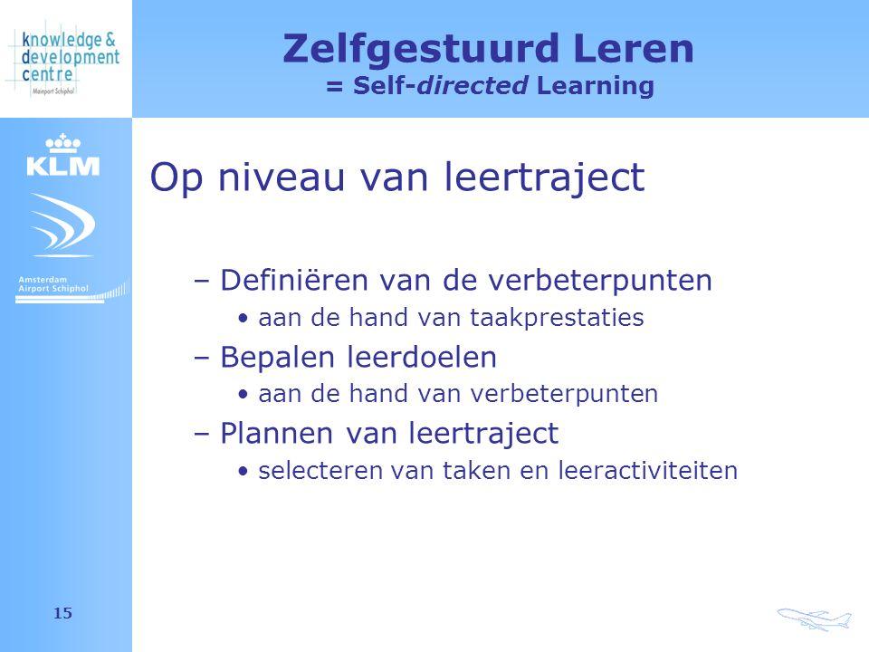 Amsterdam Airport Schiphol 15 Zelfgestuurd Leren = Self-directed Learning Op niveau van leertraject –Definiëren van de verbeterpunten aan de hand van taakprestaties –Bepalen leerdoelen aan de hand van verbeterpunten –Plannen van leertraject selecteren van taken en leeractiviteiten